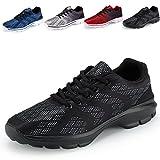 Men's Lightweight Breathable Running Tennis Sneakers Casual Walking Shoes (US 10.5/EU 44, Black)