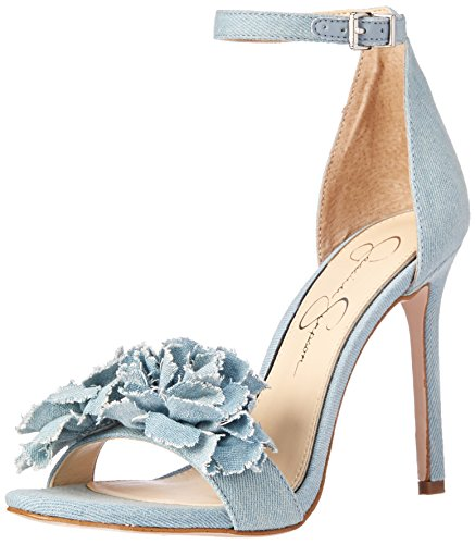 Jessica Simpson Women's Jeena Heeled Sandal, Vintage Blue, 7.5 Medium US (Jessica Blue Sandal Simpson Womens)