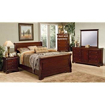 4pc Queen Size Sleigh Bedroom Set Louis Philippe Style In Mahogany Finish Kitchen