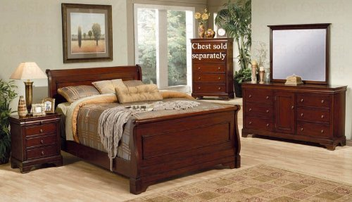 Glass Bedroom Sleigh Bed (4pc Queen Size Sleigh Bedroom Set Louis Philippe Style in Mahogany Finish)