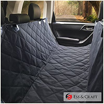 Ess & Craft Waterproof Pet Car Rear/Back Seat Cover, Hammock and Standard, Quilted, Triple Layered with Seat Belt Slots, Black