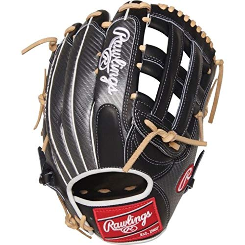 Rawlings Heart of The Hide - Hyper Shell Heart of The Hide Hyper Shell Baseball Glove, Black Gray Trim, - Glove 12.75 Inch Outfield Baseball