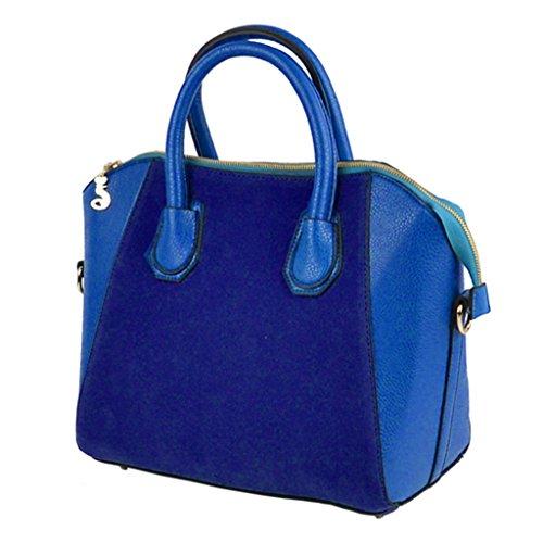 Bolsa de hombro - All4you señoras Nubbuck PU cuero sonrisa mano bolsa cruzada cuerpo Bag(Blue) Azul