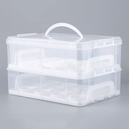 Dreamling caja para cupcakes (2 pisos Separables y 24 tazas, Porta tartas magdalenas para