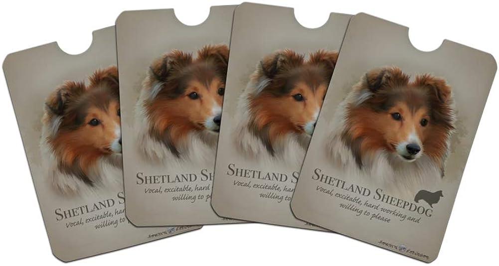 Shetland Sheepdog Dog Breed Credit Card RFID Blocker Holder Protector Wallet Purse Sleeves Set of 4
