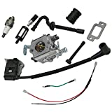 HIPA Carburetor + Ignition Coil + Spark Plug + Fuel / Oil Line + Filter + Muffler Gasket + Intake Maniflod Boot Adapter for STIHL 021 023 025 MS210 MS230 MS250 Chainsaw