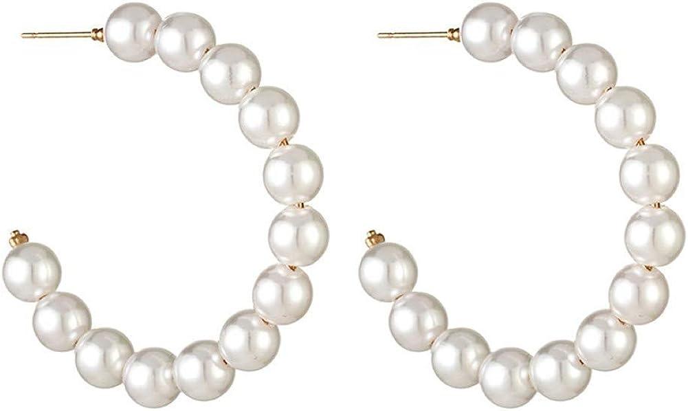 Ototon - Pendientes de aro con perlas de estilo vintage, para mujer, niña, regalo