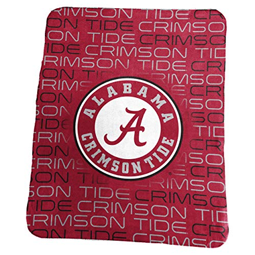 Logo Brands NCAA Alabama Crimson Tide Classic Fleece Throw, One Size, Cardinal