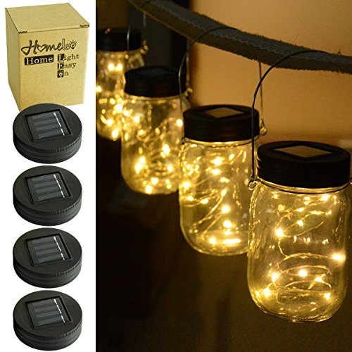 Homeleo 4 Pack Warm White Watertight Solar Mason Jar Light Lid LED String Fairy Light for Regular Mouth Mason Jar(Jars NOT Included)
