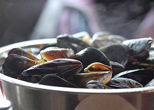 Fish Fresh Mussel - Home Comforts Peel-n-Stick Poster of Seafood Food Fresh Eat Mussels Shellfish Dinner Poster 24x16 Adhesive Sticker Poster Print