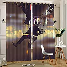 "lihousehold Functional Ombre Linen Sheer Curtains Pair Set Man with Virtual Reality Futuristic Fiction Artificial Intelligence Display Multicolor Grommet Curtains(2 Panels)(2 Panels, 84"" x 84"")"