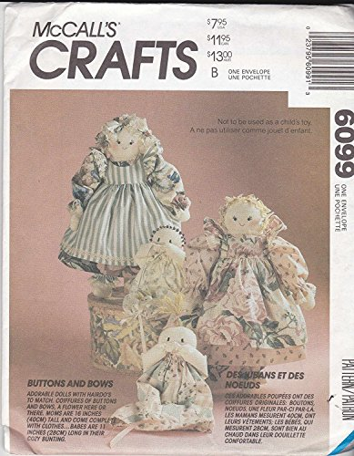 McCall's Crafts Pattern 6099 ~ Buttons and Bows Country Novelty Hair Dolls and Babies (Pattern Country Doll)