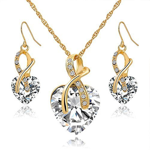 Gift! Gold Plated Jewelry Sets For Women Crystal Heart Necklace Earrings Jewellery Set Bridal Wedding Accessories (White)