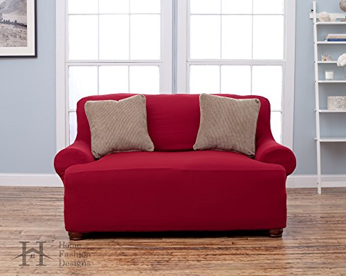Lucia Collection Basic Strapless Slipcover. Form Fit, Slip Resistant, Stylish Furniture Shield / Protector Featuring Lightweight Corduroy Fabric. By Home Fashion Designs Brand. (Loveseat, Burgundy) (Loveseat Couch Covers)