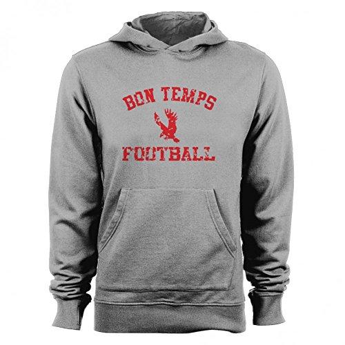 GEEK TEEZ Bon Temps Football Women's Hoodie Heather Grey Medium (Bon Temps Football T Shirt)