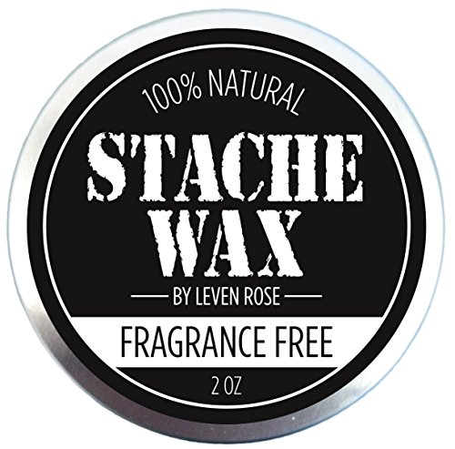 BEST Mustache Wax & Beard Wax by Leven Rose - 100% Natural Grooming Wax for Moustache Grooming and Beard Growing Salve for Men - Fragrance Free Best Beard Oil Balm Unscented - 2 (Men Moustache)