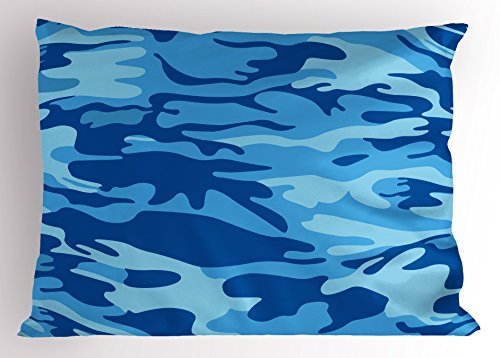 Pale Man Costumes (Camouflage Pillow Sham by Ambesonne, Abstract Camo Navy Military Costume Concealment from the Enemy Hiding, Decorative Standard Queen Size Printed Pillowcase, 30 X 20 Inches, Pale Blue Navy Blue)