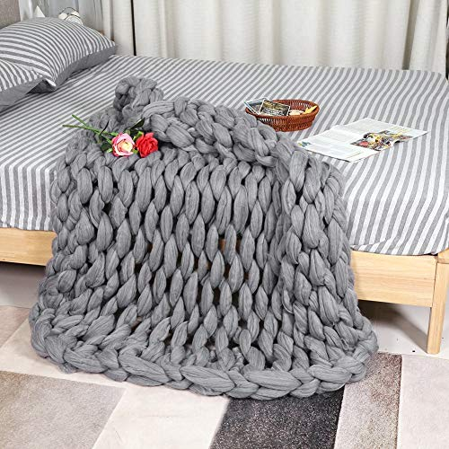 Knitted Blanket - Handmade Knitted Warm Blanket, Wool Thick Line Blanket Throw, Home Decor (Size : 100 x 130 cm) by DeWin (Image #3)