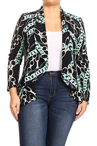 Plus Size Solid Print Casual Long Sleeve Open Front Jacket Blazer/Made in USA Chain Mint Navy XL