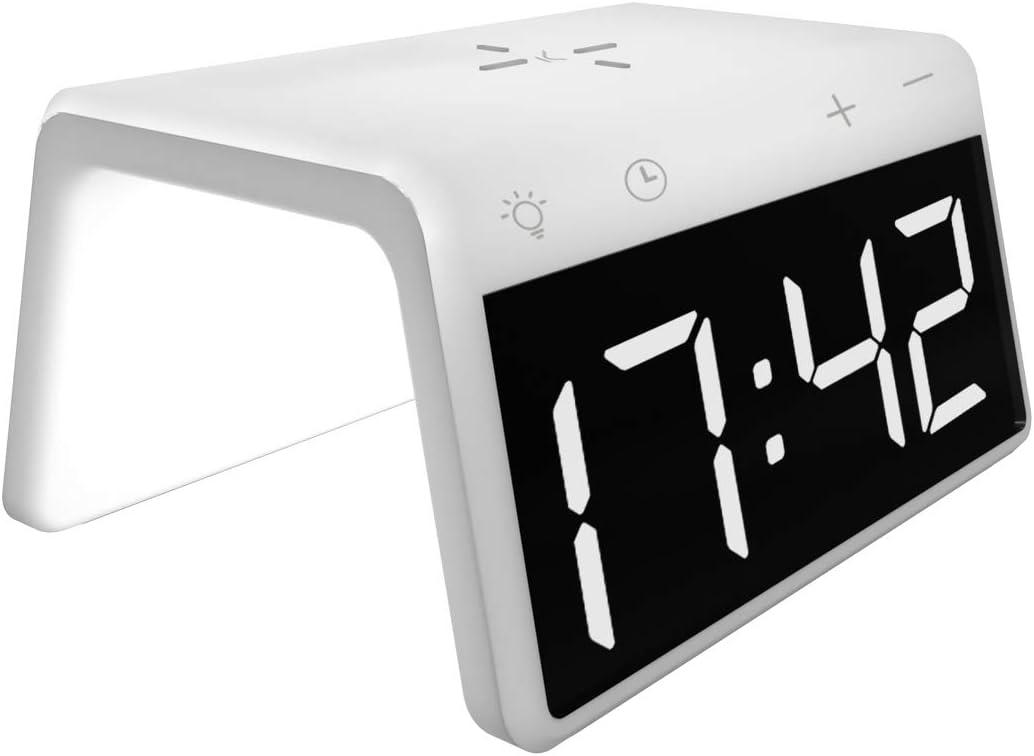 Ksix Cargador INALAMBRICO Fast Charging Despertador SOBREMESA LUZ Colores 10W (Blanco)