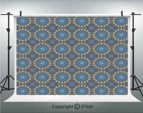 Ethnic Photography Backdrops Arabesque Style Mandala Inspired Circular Motifs Ethnic Antique,Birthday Party Background Customized Microfiber Photo Studio Props,7x5ft,Pale Blue Pale Yellow