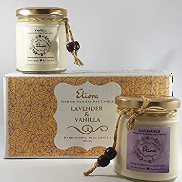 Eliora Lavender and Vanilla Scented Natural Wax Candles (Ivory) - Set of 2