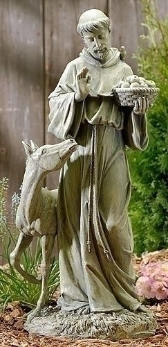 St. Francis statue with colt