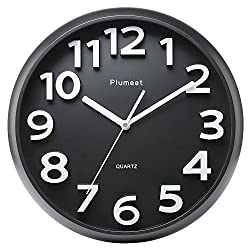 Large Number Wall Clock, Plumeet 13 Silent Non-ticking Quartz Decorative Wall Clock, Modern Style Good for Living Room & Home & Office Battery Operated (Black)