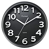 "Large Number Wall Clock, Plumeet 13"" Silent Non-ticking Quartz Decorative Wall Clock, Modern Style Good for Living Room & Home & Office Battery Operated (Black)"
