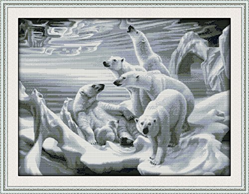 Joy Sunday Cross Stitch Kits 14CT Counted Polar Bear Homeland 25.2