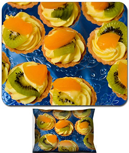 Luxlady Mouse Wrist Rest and Small Mousepad Set, 2pc Wrist Support design IMAGE: 39891243 Delicious mini tart with kiwi and oranges slices