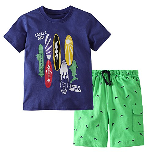 - Fiream Boys Cotton Clothing Sets Summer Shortsleeve t-Shirts and Shorts 2 Pieces Clothing Sets(18038,7-8YRS)