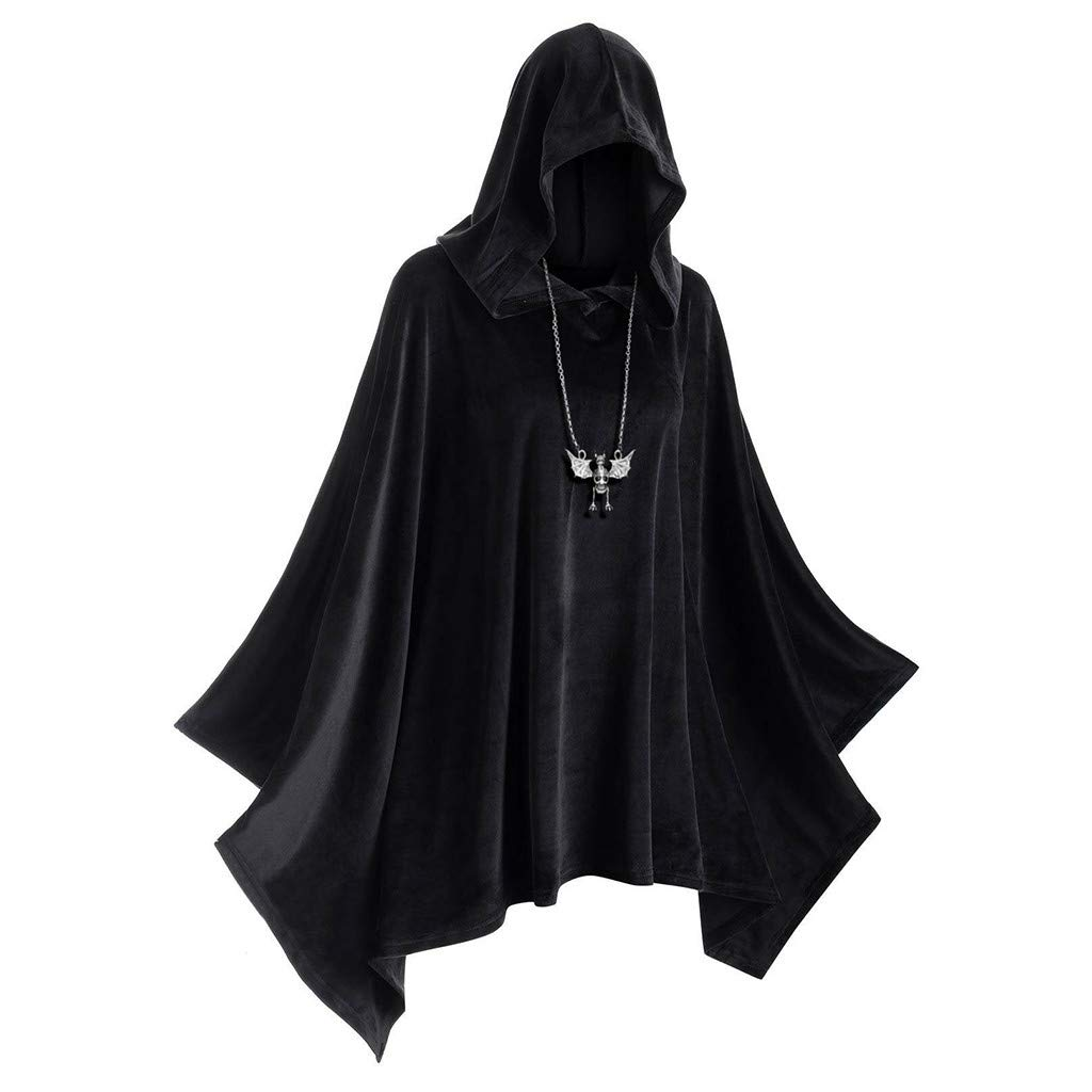 Halloween Witch Cloak Womens Vintage Hooded Cape Coat Holiday Party Masquerade Cosplay Novelty Costume (Black, XXXL) by TLOOWY