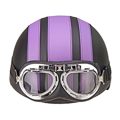 Oshide Bike Scooter Motorcycle Half Helmet With Goggles Glasses Visor For Women Men (Purple+Black)