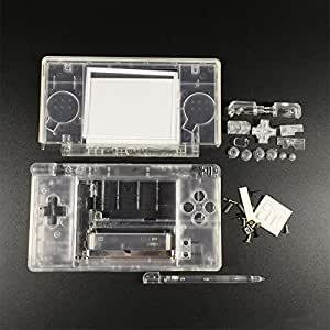Clear Housing Shell Cover Case Full Set Replacement for NDSL Nintendo DS Lite Game Console with Button Kit Full Set