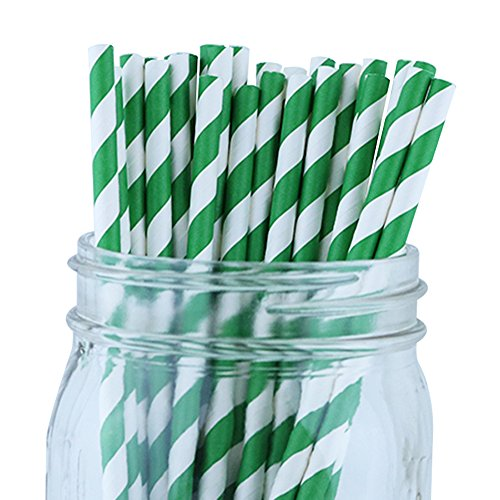 Just Artifacts Decorative Striped Paper Straws (100pcs, Striped, Forest Green)