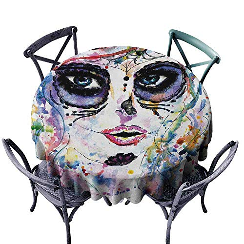 VIVIDX Fashions Table Cloth,Sugar Skull,Halloween Girl with Sugar Skull Makeup Watercolor Painting Style Creepy Look,for Events Party Restaurant Dining Table Cover,35 INCH,Multicolor]()