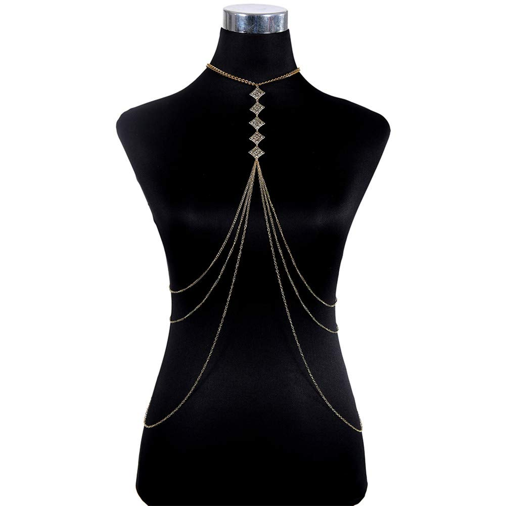 lureme Women Harness Bikini Body Chain Crossover Belly Waist Chain (01004079)