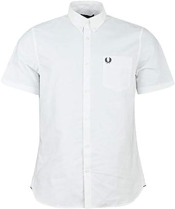 Fred Perry Hombres Camisa Oxford clásica Manga Corta m3531 100 Blanco L: Amazon.es: Ropa y accesorios