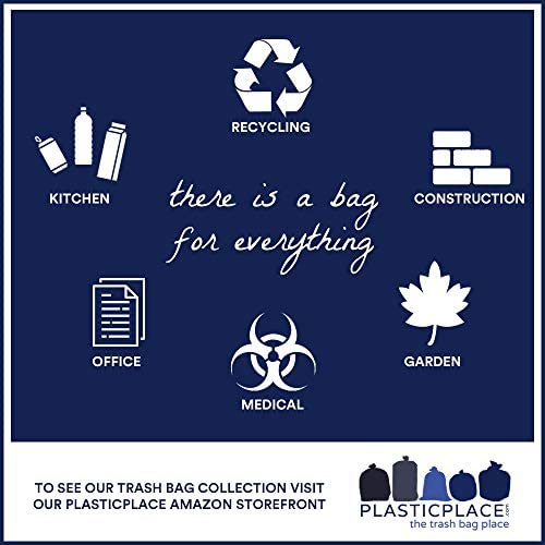 """Plasticplace 55-60 Gallon Trash Bags │ 1.5 Mil │ Clear Heavy Duty Garbage Can Liners │ 38"""" x 58"""" (50Count)"""
