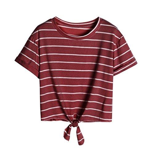 Angelof T-Shirt Rayées à Manches Courtes avec Knot Haut A Menotté Col Rond Blouse Ample Court Top Été Ado Fille