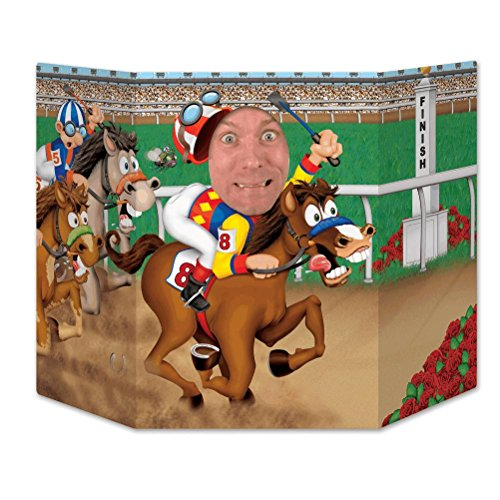 Beistle Horse Racing Photo Property, 3-Feet 10-Inch by 25-Inch, Multicolor -