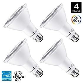 Hyperikon PAR30 LED Bulb, 12W Dimmable Flood Light Bulb, 65-75W Halogen Bulb Equivalent, 900lm, 2700K (Warm White), 40° Beam Angle, E26 Base, Recessed Lights, ENERGY STAR & UL - (Pack of 4)