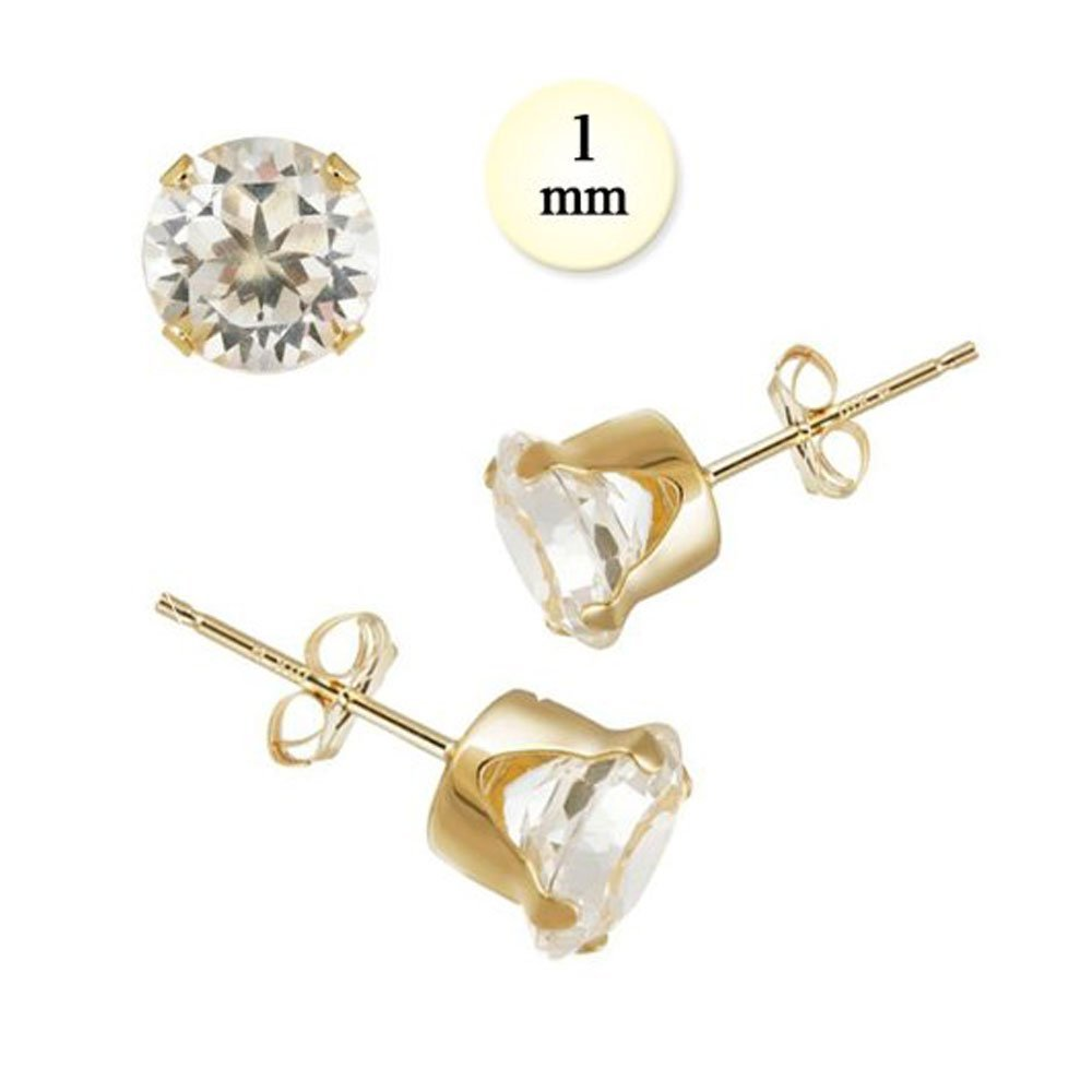 14K Yellow Gold Stud Earring Aprx .02 Carat Total Weight, 1mm Each Round Simulated Diamond Earring. Set on Stamping Setting & Friction Style Post