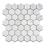 "Oriental White - Eastern White Marble 2"" Hexagon POLISHED Mosaic Tile - 6"" X 6"" Sample by Oracle Tile & Stone"