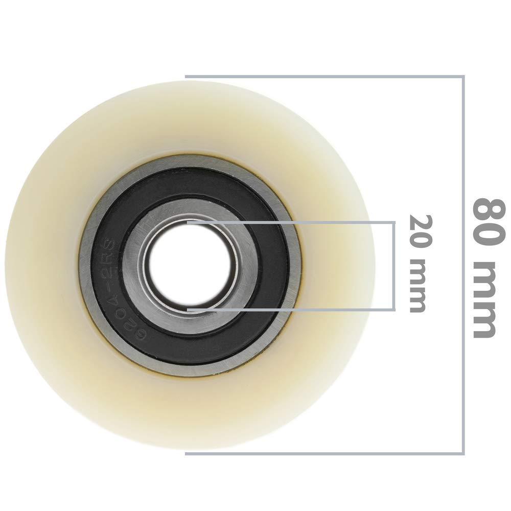PrimeMatik Rueda para transpaleta Rodillo de Nailon de 80x70 mm 700 Kg 4-Pack