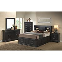 Queen Bed Black Louis Philippe Collection - 201079Q