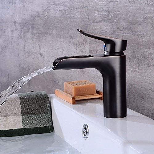 ZY-YY バスルームのシンクミキサータップブラックオイルラビングブロンズ滝温水と冷水のバスルームシンク用セラミック単穴シングルレバータップ