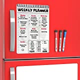 Kitchen Magnets for Refrigerator - Family Organization Board Set 2019 - Large Magnetic Sheet with Week Calendar To Do List White Board - Magnetic Fridge Notepad - Calendar Dry Erase Board for Fridge