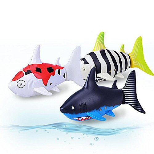 Lanlan Remote Control Shark Swimmer Mini RC Fish Boat Electric Toy 27 MHz Radio Control for Kids Gift (Hammerhead Shark Dog Costume)